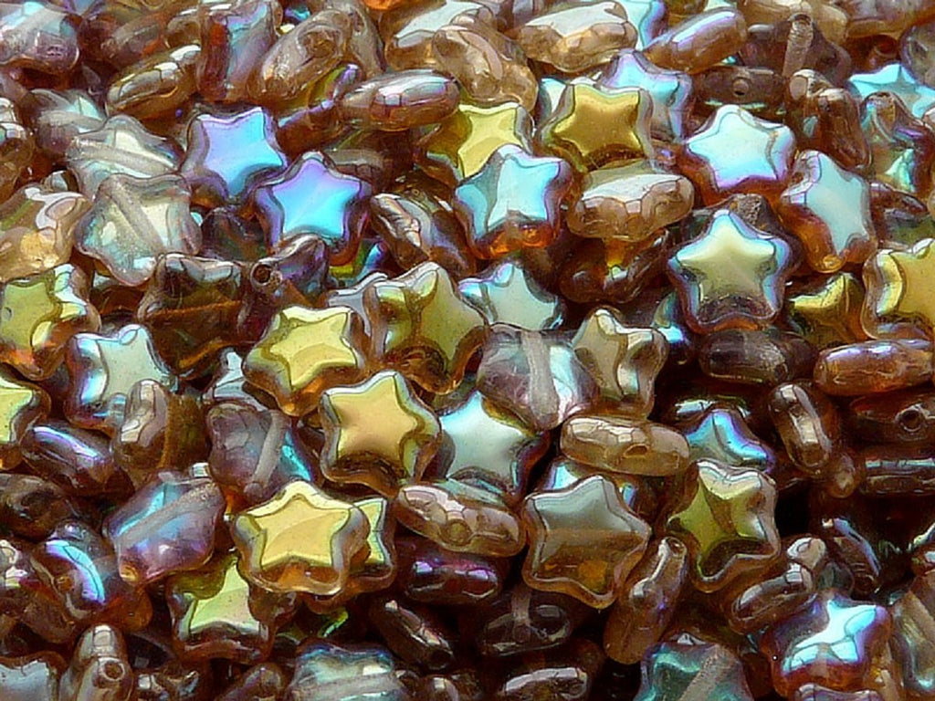 50 pcs 50 pcs Star Beads 8 mm Crystal Brown Rainbow Czech Glass Brown Multicolored