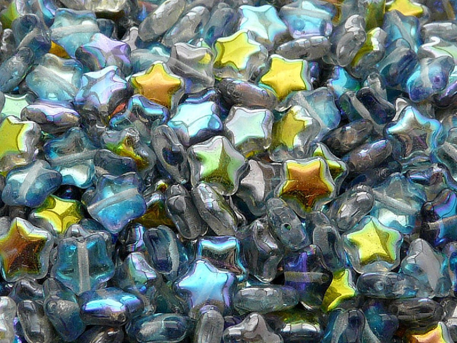 50 pcs 50 pcs Star Beads 8 mm Crystal Blue Rainbow Czech Glass Blue Multicolored