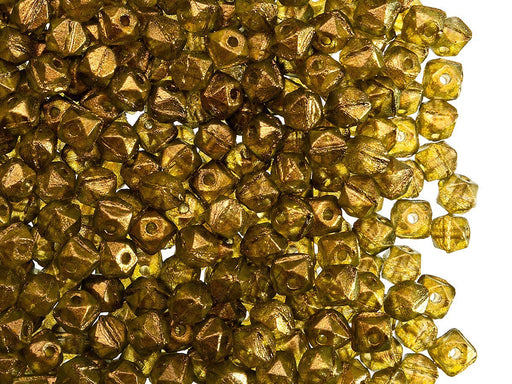 Vintage Cut Nuggets Beads 4 mm, Crystal Light Sun Powder, Czech Glass