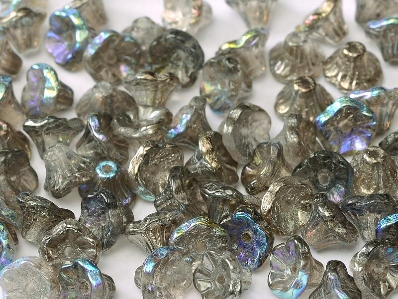Flower Cup Beads 7x5 mm Crystal Graphite Rainbow Czech Glass Grey Multicolored