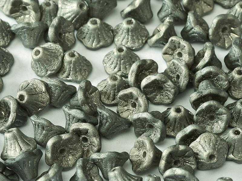 Flower Cup Beads 7x5 mm Crystal Chrome Full Matted Czech Glass Grey Silver