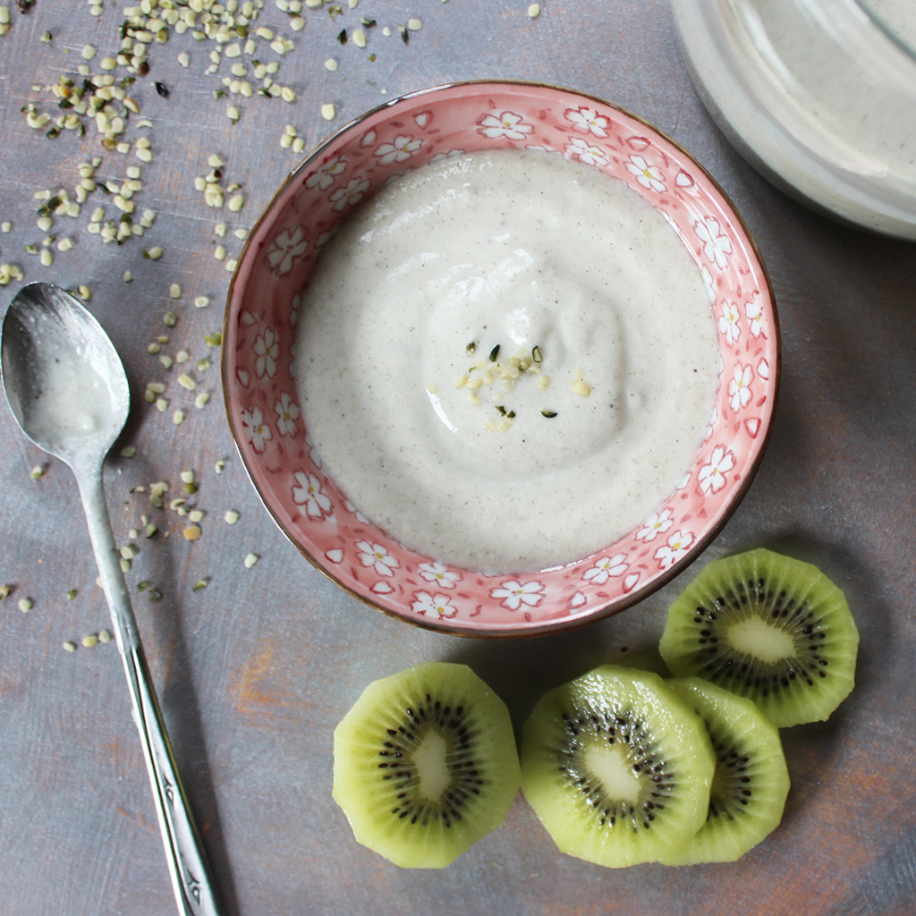 Homemade hemp milk yoghurt