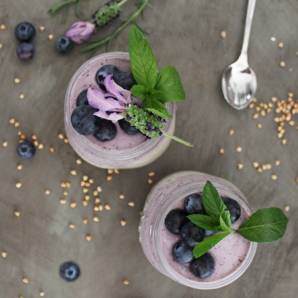 cultured blueberry, buckwheat and cashew breakfast jars