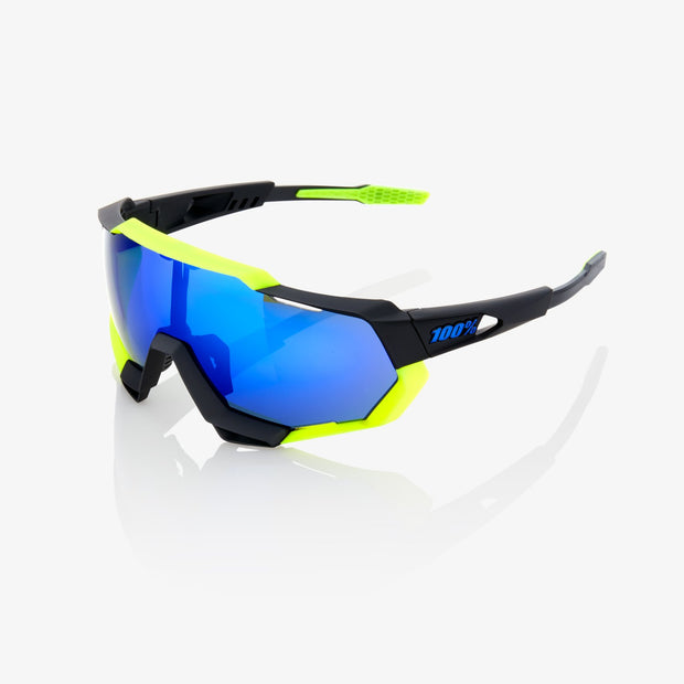 100% Speedtrap Sunglasses - Soft Tact Black/Neon Yellow