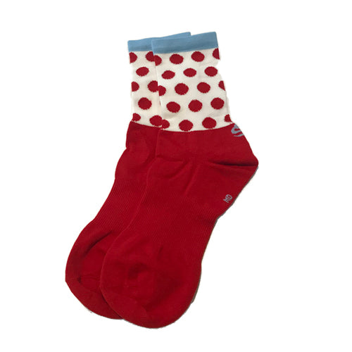 "Sos Cust 5"" Dots Coolmax Socks - Red/Blue"