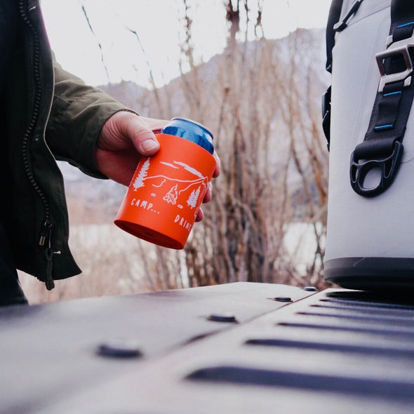 beer can cooler - camp drink repeat