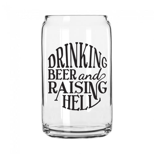Raising Hell Can Shaped Pint Glass