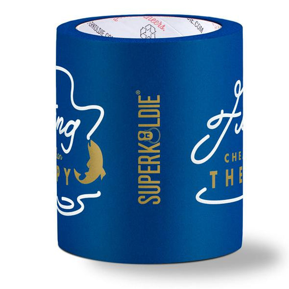 beer can cooler - cheaper than therapy - blue sideview