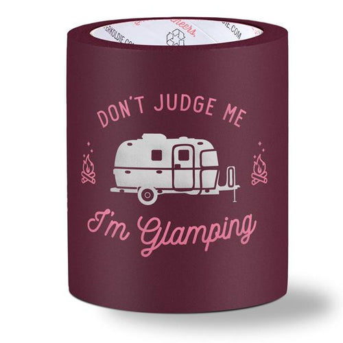 beer can cooler - don't judge me I'm glamping - burgundy
