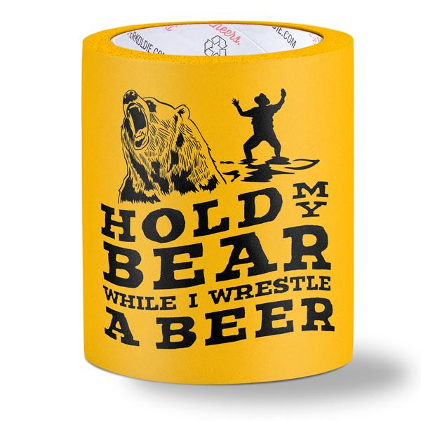 foam can cooler - hold my bear - yellow
