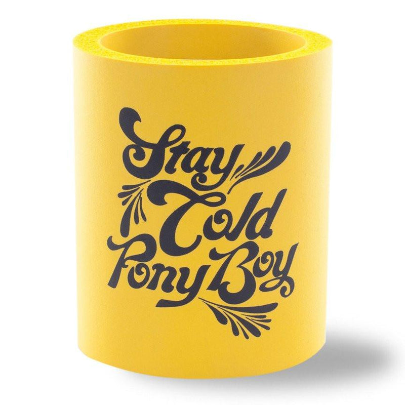 Beer Can Cooler - STAY COLD PONY BOY FOAM KOLDIE - SUPERKOLDIE yellow