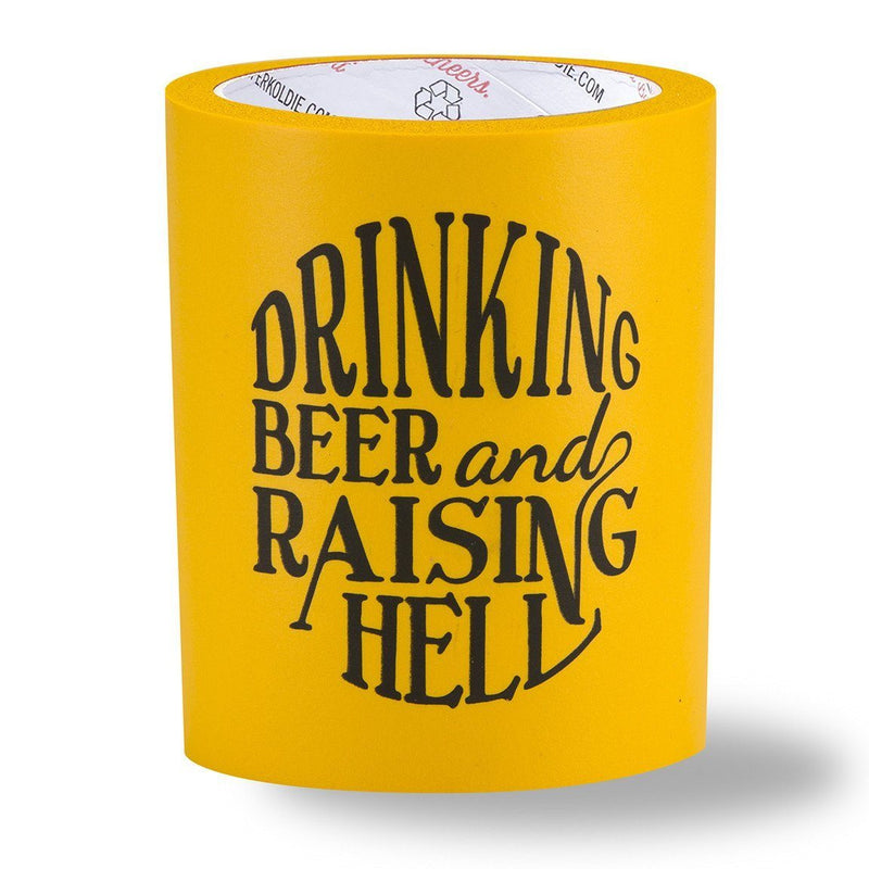 RAISING HELL FOAM KOLDIE - BEER Can Cooler - SUPERKOLDIE yellow