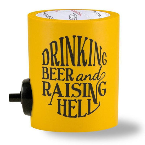 BEER Can Cooler with beergunner - raising hell - yellow