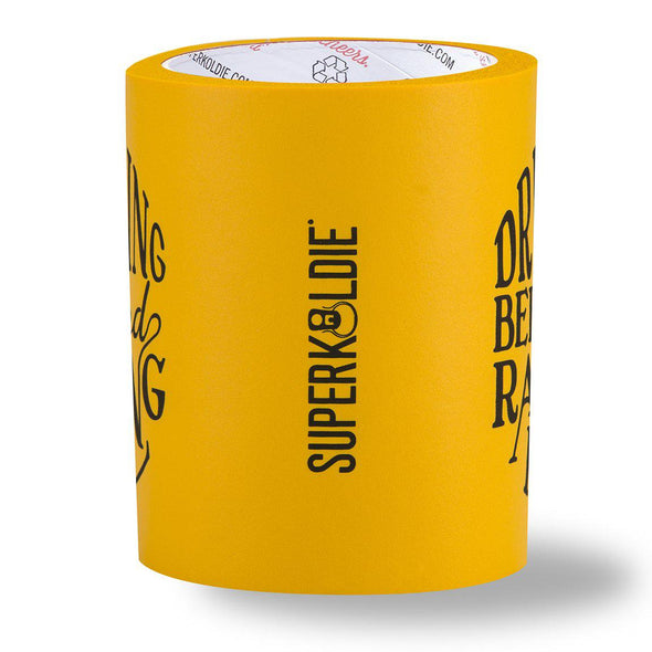 BEER Can Cooler with beergunner - raising hell - yellow sideview