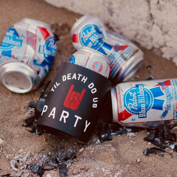 beer can cooler with beergunner - til death do us party