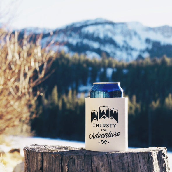 foam can cooler - thirsty for adventure