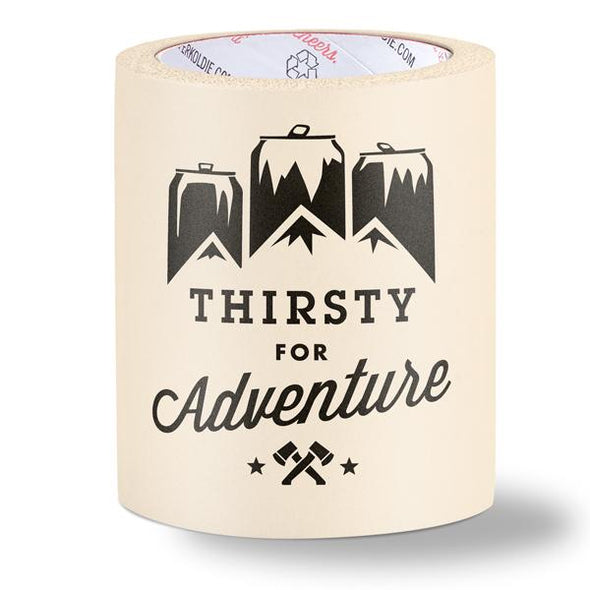 foam can cooler - thirsty for adventure - off white