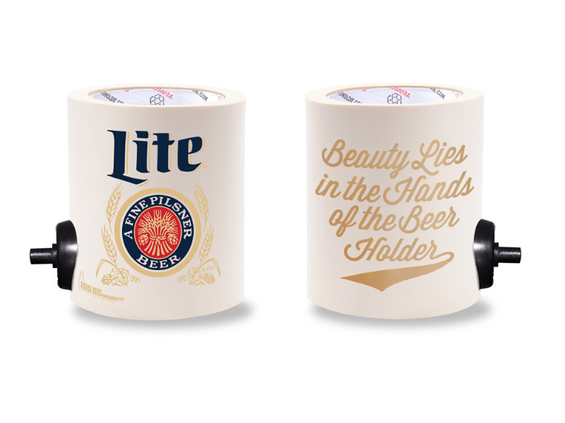 MILLER LITE BEAUTY IN THE BEER HOLDER  FOAM KOLDIE  w/ PARTY BUTTON