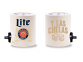 MILLER LITE Y LAS CHELAS FOAM KOLDIE  w/ PARTY BUTTON