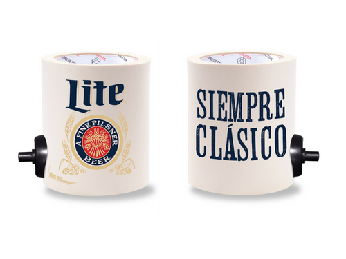 MILLER LITE SIEMPRE CLASICO FOAM KOLDIE  w/ PARTY BUTTON
