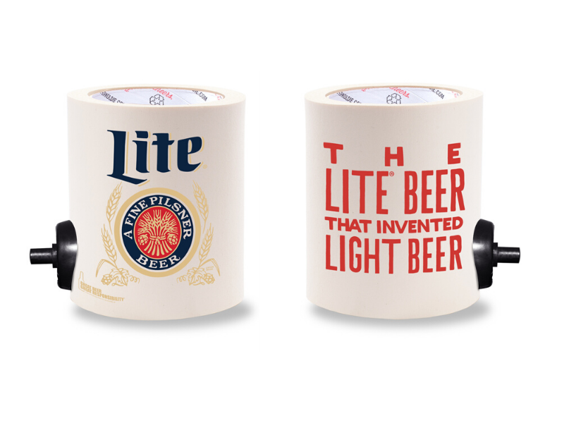 MILLER LITE INVENTED  FOAM KOLDIE  w/ PARTY BUTTON