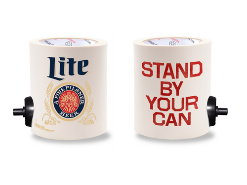 MILLER LITE STAND BY YOUR CAN  FOAM KOLDIE  w/ PARTY BUTTON