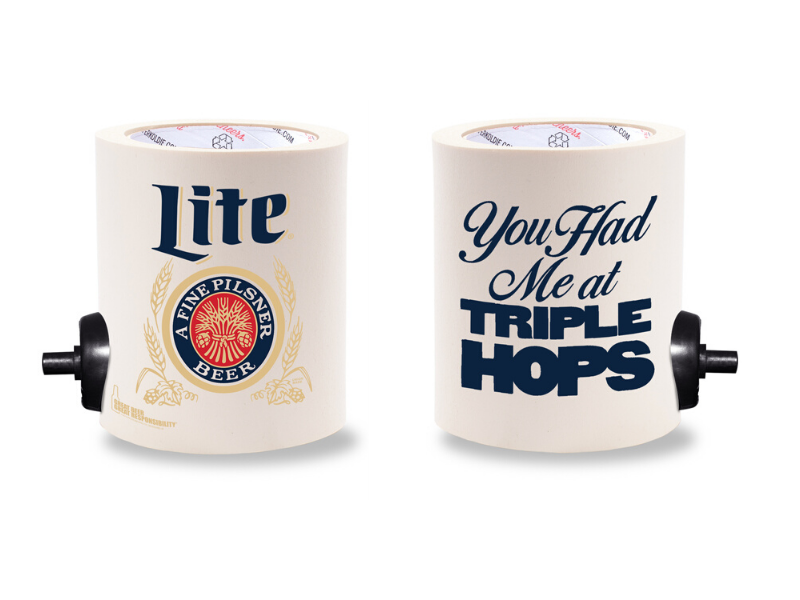 MILLER LITE TRIPLE HOPS  FOAM KOLDIE  w/ PARTY BUTTON