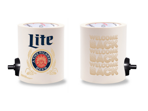 MILLER LITE WELCOME BACK FOAM KOLDIE  w/ PARTY BUTTON