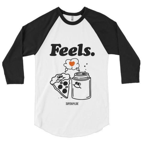 FEELS MEN'S 3/4 SLEEVE RAGLAN-Tees-White/Black-S-SUPERKOLDIE