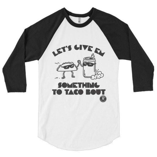 TACO BOUT MEN'S 3/4 SLEEVE RAGLAN-Tees-White/Black-XS-SUPERKOLDIE