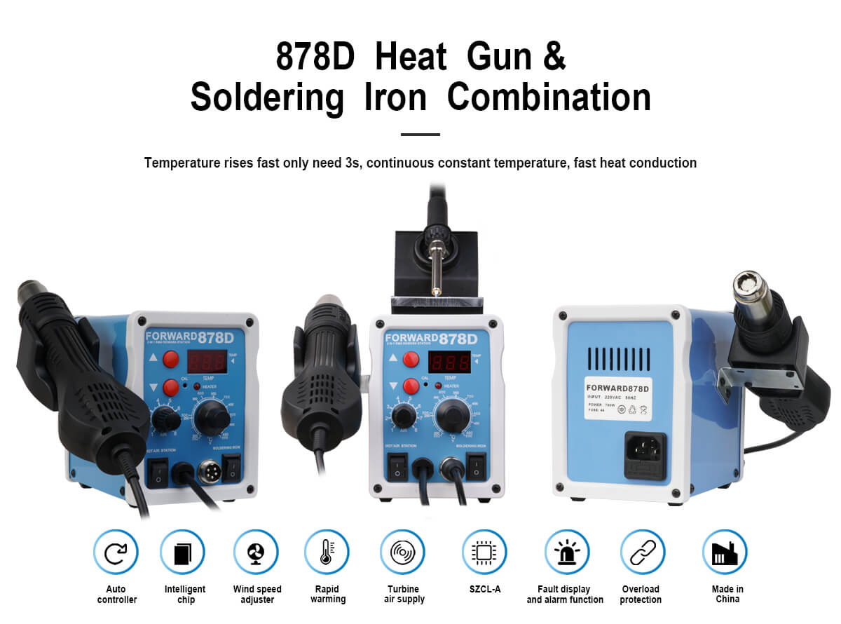 FORWARD 878D Heat Gun And Soldering Iron Combination Repair Station For Cellphone Repair