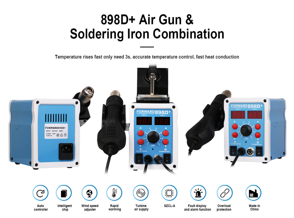 FORWARD 898D+ Hot Air Gun And Soldering Iron Combination Repair Station For Fix Mobile Phone