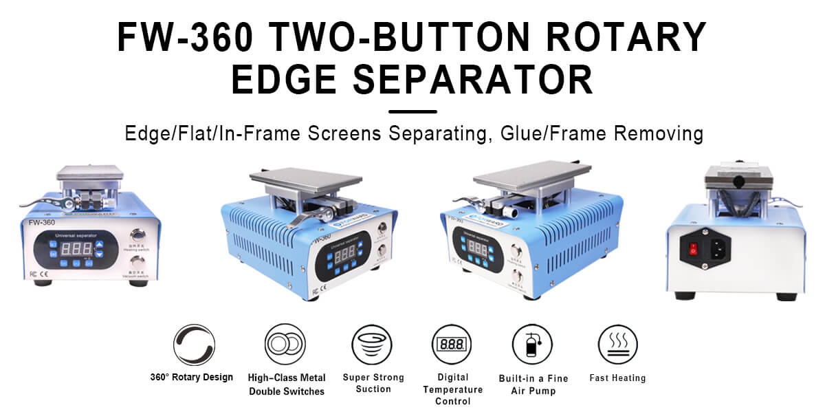 Two-Button Rotary Edge Separator For Edge/Flat Screens & In-Frame Separating