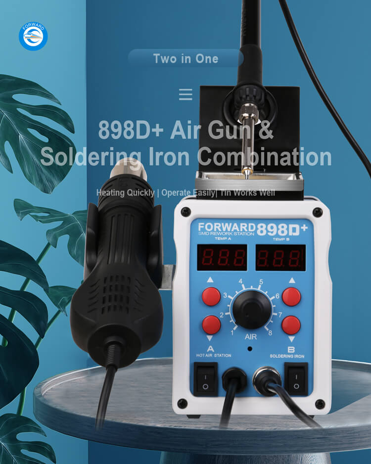 898D+ Hot Air Gun And Soldering Iron Combination Repair Station
