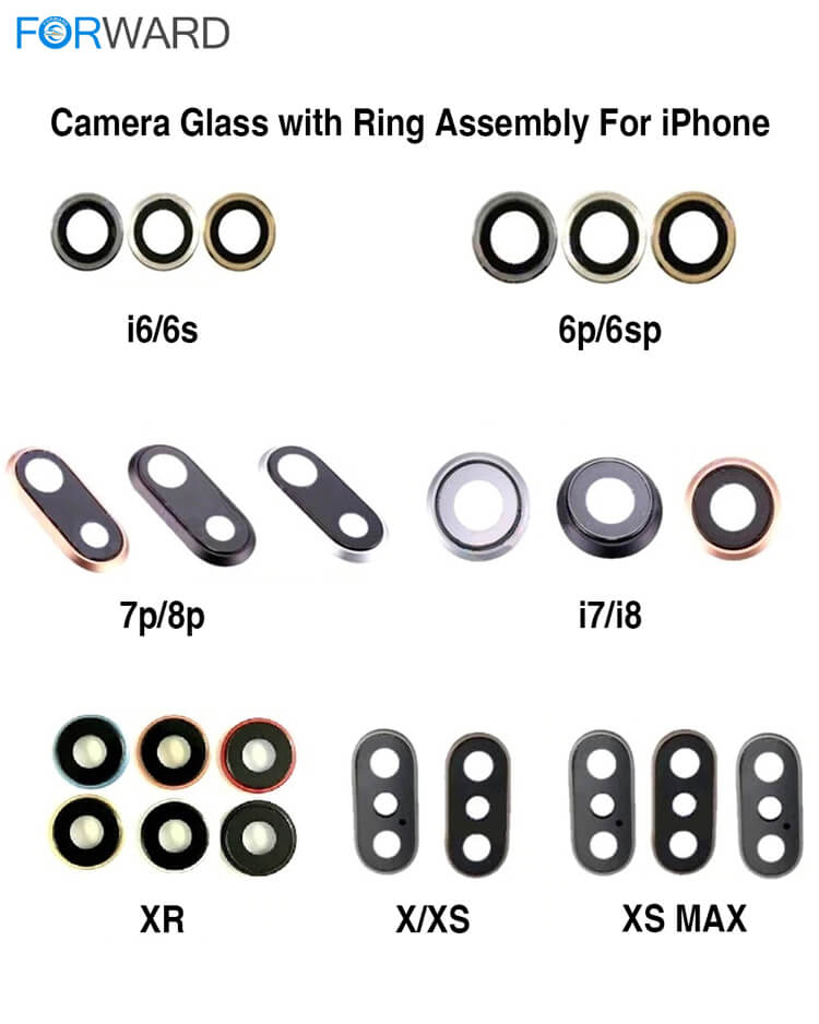 Original Quality Camera Glass+Ring For iPhone X/XS/XS Max/11/11 Pro/11 Pro Max Back Glass Repair and Change - (5 PCs)