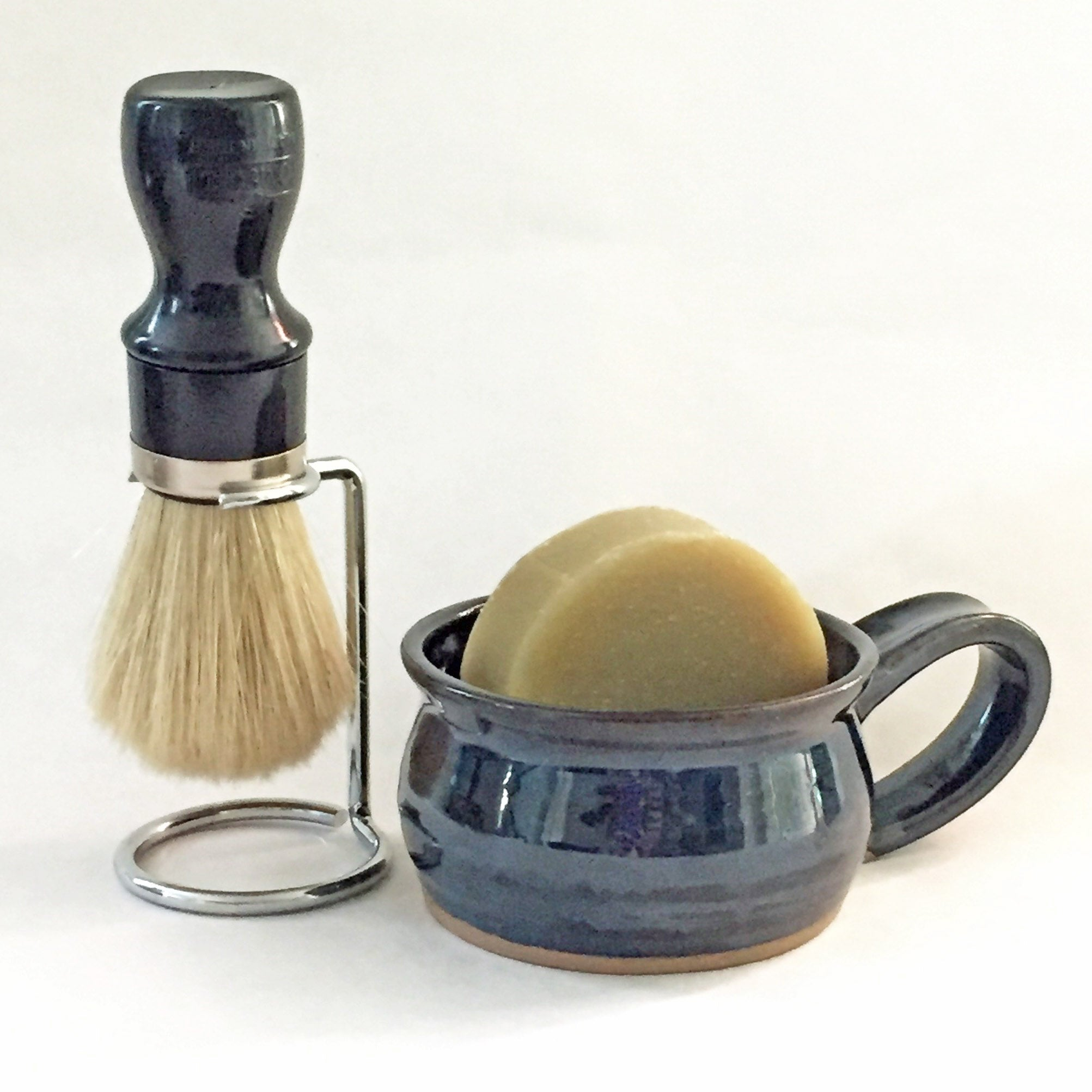 forest blue shaving soap bowl and shave brush