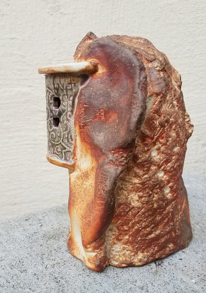 Cliffside Dwelling - Toasted Marshmallow - Ceramic Sculpture