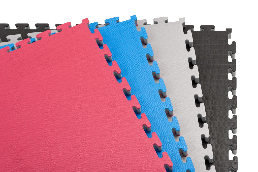 Zebra 10' x 10' Premium Interlocking Puzzle Mats with Tatami Surface (available in 2 reversible color combos)