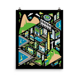 'Rio City Map' Matte Wall Poster