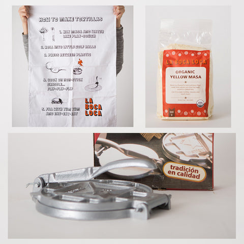 Tortilla press gift set