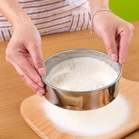 0.28mm Mesh 15cm Dia Handheld Stainless Steel Flour Sifter Pastry Icing Sugar Shaker Sieve Cup