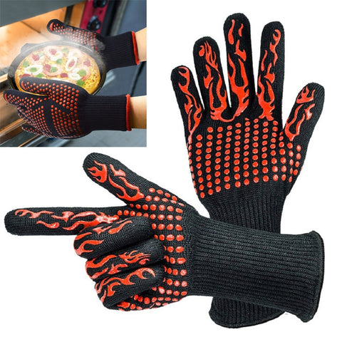1 Pair Kitchen Heat-Resistant Gloves Oven Mitts Silicone Gloves Grill Multifunctional Potholders For