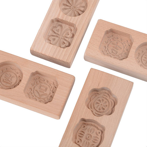 1 Pcs Wood Mooncake Baking Mold Cookies Mold 3D Flower Fondant Mooncake Tools, Mooncake Decorating Kitchen Accessories