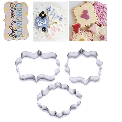 1 Set (3pcs) Cookies Pastry Fondant Mold Stainless steel Cake Mold Sugarcraft Decorating Frame