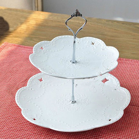 1 Sets 2 or 3 Tier Cake Plate Stand(Plate Not Include) Handle Crown Fitting Metal Wedding Party