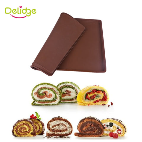 1 pc Cake Roll Mat Silicone Swiss Roll Mold Maker Tray Big Size Square Shape Swiss Cake Rolls