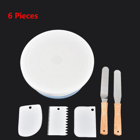 10 Inch Plastic Cakes Stand Turntable Rotating Spatula Dough Knife Decorating Cream Cake Rotary