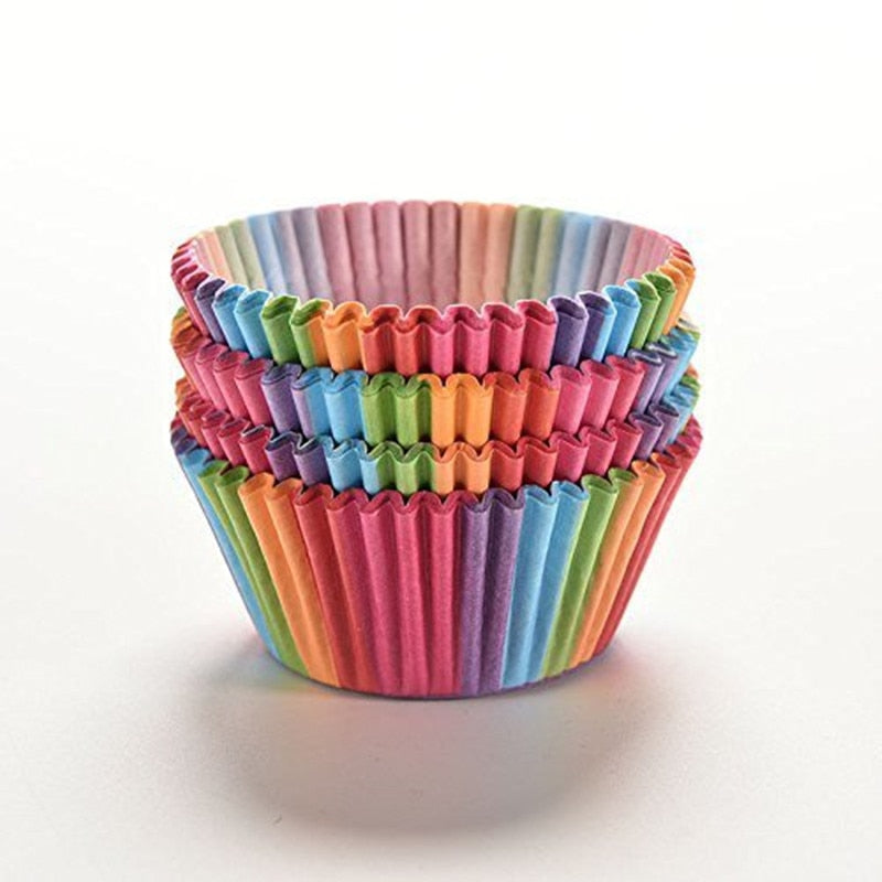 100PCS Colorful Cupcake Liner Baking Cup Cupcake Paper Muffin Cases Cake Box Cup Egg Tarts Tray Cake