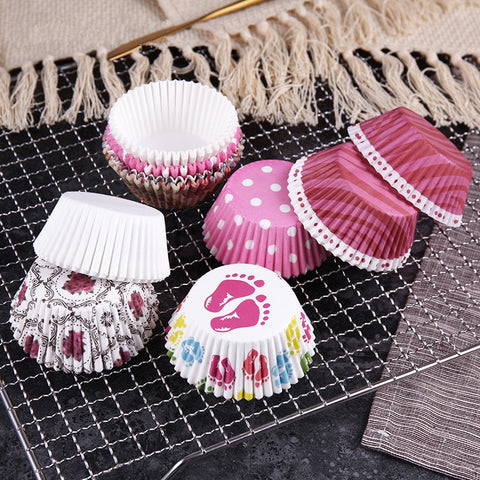 100Pcs Colorful Paper Cake Cupcake Liner Baking Muffin Box Cup Case Party Tray Cake Mold