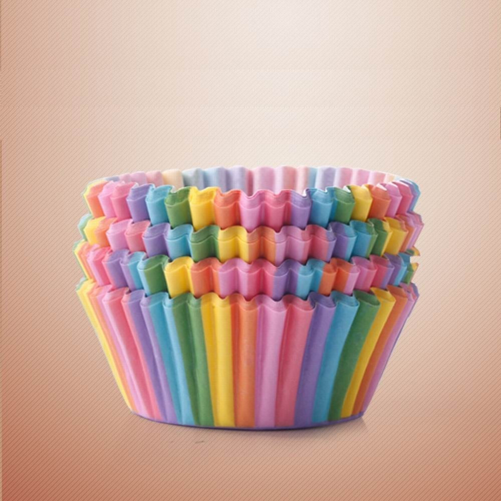 100Pcs Colorful Rainbow Paper Cake Cupcake Liner Baking Muffin Box Cup Case Party Tray Cake Mold